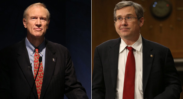 Bruce Rauner (left) and Mark Kirk are pictured in this composite image. | Getty