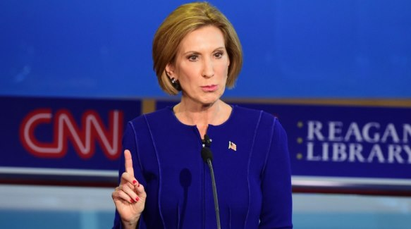 Republican presidential hopeful Carly Fiorina speaks during the Republican presidential debate at the Ronald Reagan Presidential Library in Simi Valley, California on September 16, 2015. Republican presidential frontrunner Donald Trump stepped into a campaign hornet's nest as his rivals collectively turned their sights on the billionaire in the party's second debate of the 2016 presidential race. AFP PHOTO / FREDERIC J. BROWNFREDERIC J BROWN/AFP/Getty Images